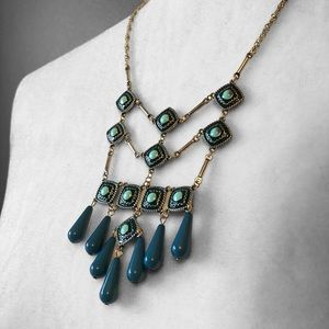 Statement Necklace Linked Turquoise Beads Silver